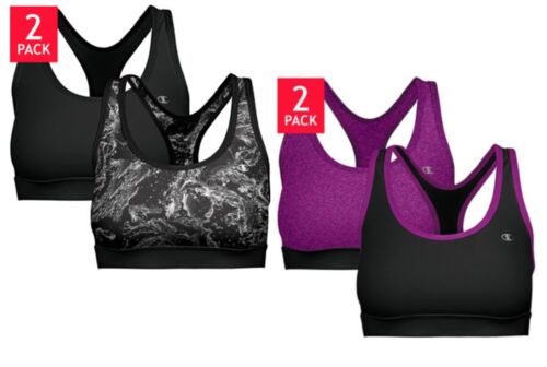 2 PACK CHAMPION LADIES DOUBLE DRY STRETCH SPORTS BRA REMOVABLE FOAM CUP! 1023245