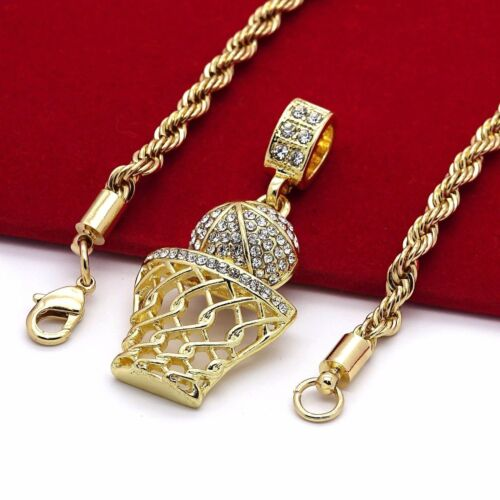 """Basketball Iced-Out Micro Pendant Hip-Hop Chain Gold Tone 24"""" Inch Rope Necklace"""