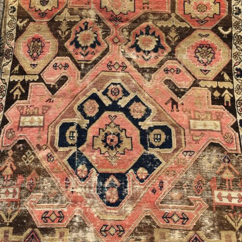 Antique Caucasian Tribal Art  Wool Hand Knotted 45X78 In. C.1880 RARE