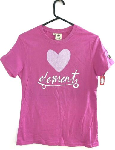 Womens Element Pink Heart Surf T-Shirt / Tee. Size 8 - 14. NWT. RRP $39.99.