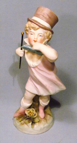 Antique Painted Bisque Edwardian Boy w/ Baton and Top Hat Figurine Statue