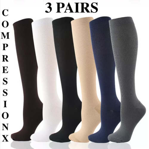 (3 Pairs) S-XXXL Compression X Socks Knee High 20-30mmHg Graduated Mens Womens  <br/> 🧦 NEW 3X SIZE 🧦  ✅ Free Expedited Shipping ✅