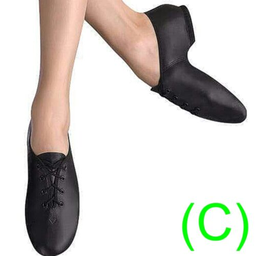 JAZZ DANCE SHOES Black Leather split sole UNISEX (pumps irish hard jig) (CC) <br/> IMPORTANT: PLEASE BUY ACCORDING TO OUR SIZE CHART