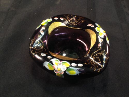 Victorian Gilt Amethyst Glass Ash Tray, Floral Onlay, Ground Pontil