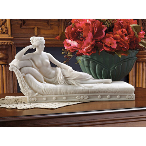 ANTIQUE STYLE ROMAN GODDESS VENUS NUDE SCULPTURE STATUE RECLINING IN VICTORY