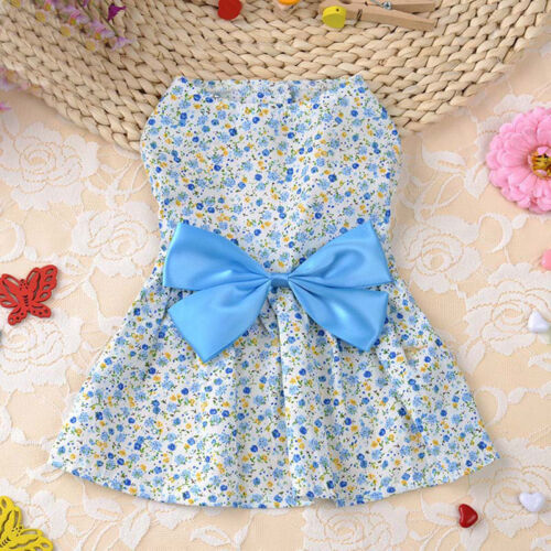 Floral Print  Dog Dress Summer Soft Cotton Bow Skirt  Clothes For Chihuahua