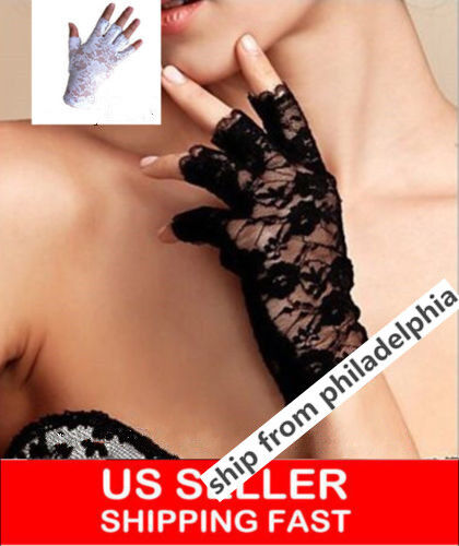 Women Lace Half Finger Gloves Wrist Length Party Sexy Dressy white or black