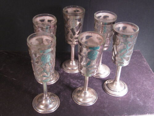 """Mexico Sterling Silver Overlay SET OF 6 GOBLETS  4"""" Silver & Glass"""