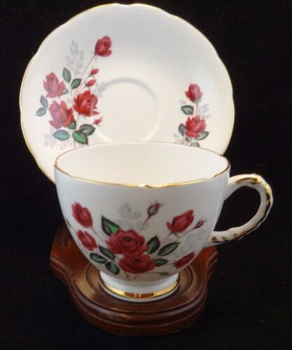 "Vintage Delphine  "" Red Roses""  Tea Cup and Saucer Set"