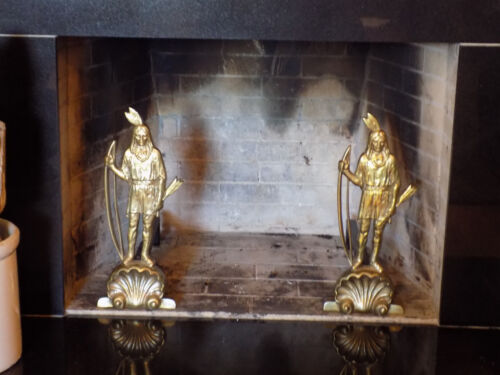 Indian Andirons Brass, Native American with Bow