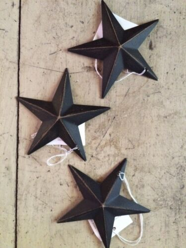 """(Set of 3) BLACK BARN STARS 3.5"""" PRIMITIVE RUSTIC COUNTRY DECOR """"FREE SHIPPING"""