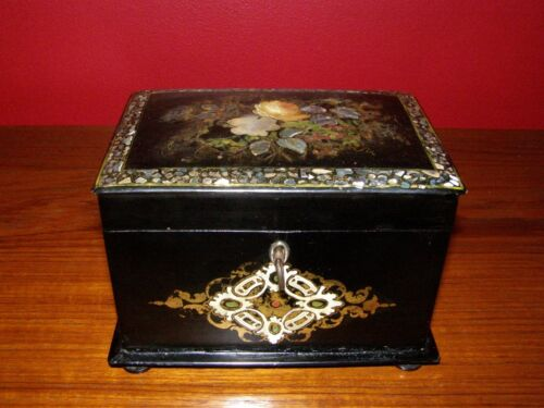 Antique Victorian Paper Mache Tea Caddy w/ Mother of Pearl & Abalone Inlays
