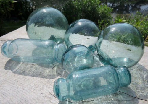 """Japanese Glass Fishing Floats 4.5""""/4""""/3.5""""/3""""/2"""" Mix LOT 2-Rolling Pins SAMPLER"""