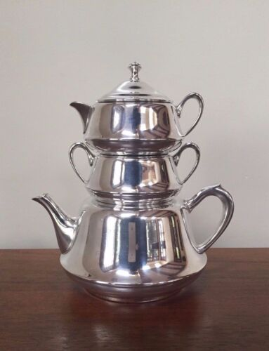 Vintage Crescent Silverplate MINI STACKING TEAPOT with Creamer & Sugar