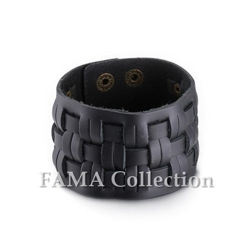 Thick FAMA Black Weaved Checker Adjustable Leather Bracelet