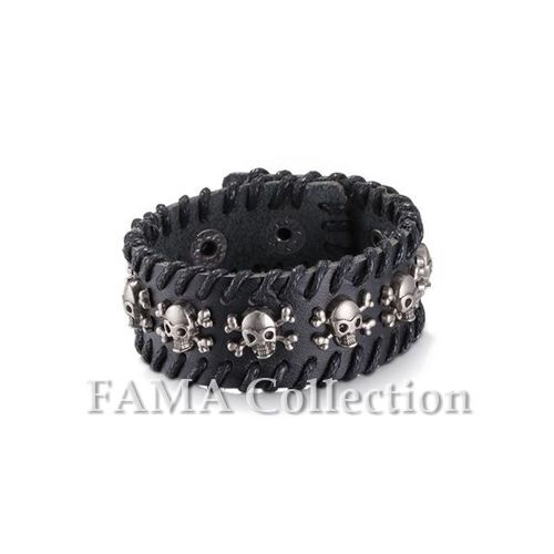FAMA Black Leather Stiched Border Adjustable Biker Bracelet with Centered Skulls