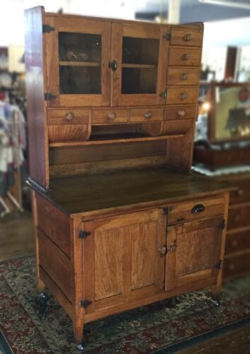 Pre-Hoosier Oak Cabinet With Mill And Flour Bins