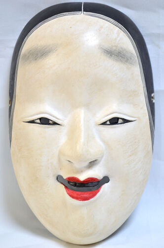 Wooden Japanese Traditional Noh Mask KO-OMOTE Demon Kagura Kabuki Samurai Bugaku