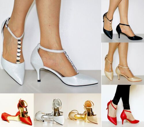 New Womens Ankle Strap Party Bridal Evening Low Mid Heel Court Shoes Size 2455