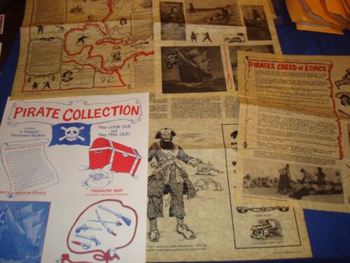 Pirates Collection-4 Antiqued Parchment Replics-Treasure Map++++