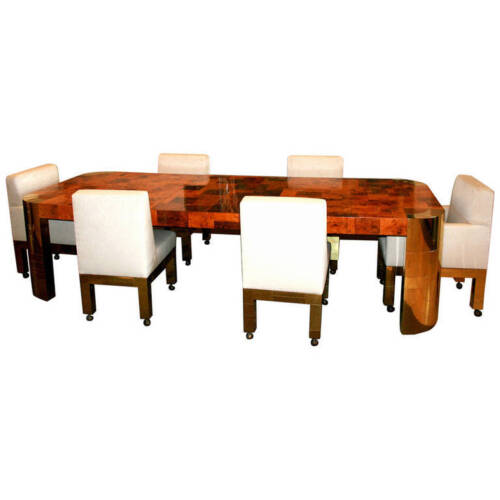 Curvilinear Dining Table with extension Paul Evans for Directional
