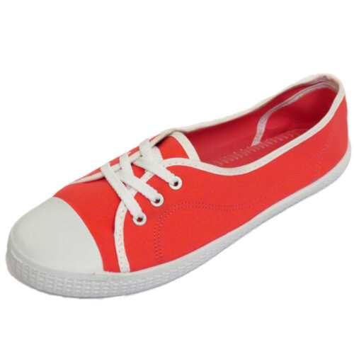 LADIES RED SLIP-ON CANVAS FLAT TRAINER PLIMSOLL PUMPS CASUAL SHOES SIZES 3-9