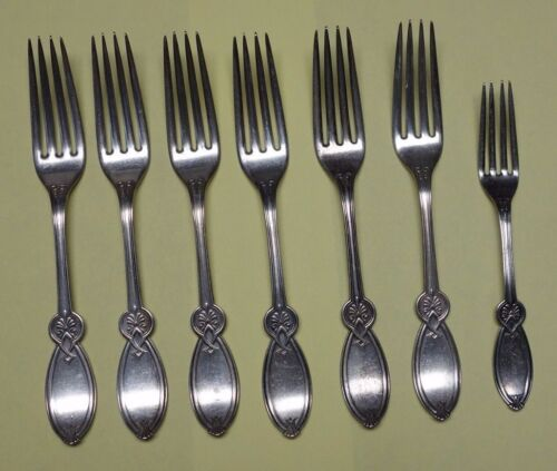 7 1847 Rogers Bros Smith & Co ROMAN Pattern Silverplate Forks