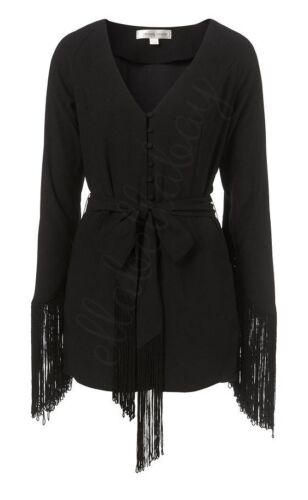 KATE MOSS TOPSHOP Black Fringed Long Sleeved Button Front Smart Playsuit 8 36