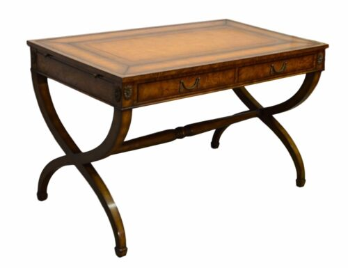 KREISS REGENCY STYLE BURL WOOD LEATHER TOP WRITING DESK