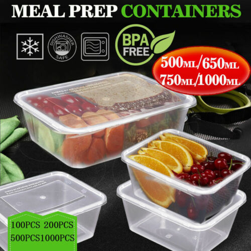 Take Away containers with Lids Disposable Plastic Food Containers  Bulk 500ml