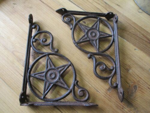 8 Cast Iron Antique Star Brackets Garden Braces Shelf Bracket RUSTIC Corbels