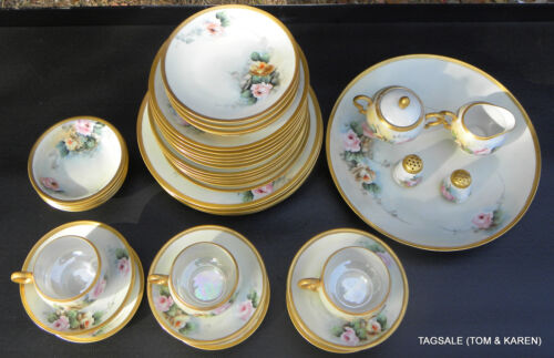 ANTIQUE HAND PAINTED EUROPEAN PORCELAIN CHINA ~ 47 PIECE SET ~ DINNER FOR 6