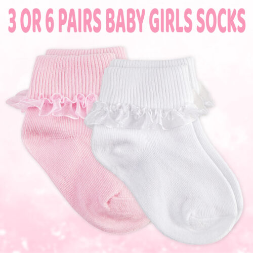 Newborn Baby Girls 3 6 Pairs Ruffle Frilly Lace Ankle Socks Turn Over Top Tutu <br/> 0-0 0-2.5 3-5.5 6-12 0-3 Christening Bundle White Pink