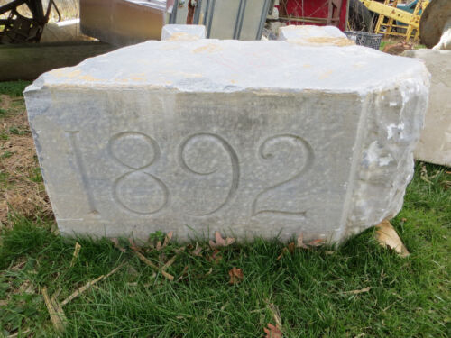 """19th Century American Dated 1892 Carved Building Corner Stone Address 36"""""""