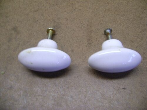 Vtg Matching Pair of Antique Oval Porcelain Drawer Pull Cabinet Knobs w/ Screws
