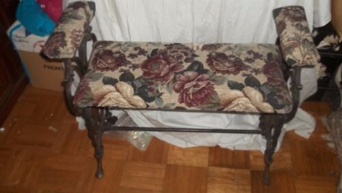 Vintage  Cast Iron Vanity Bench  Foo Dogs  upholstered