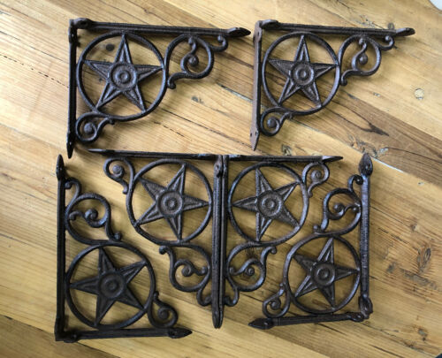 6 Cast Iron Antique Style Star Brackets, Garden Braces Shelf Bracket RUSTIC FARM