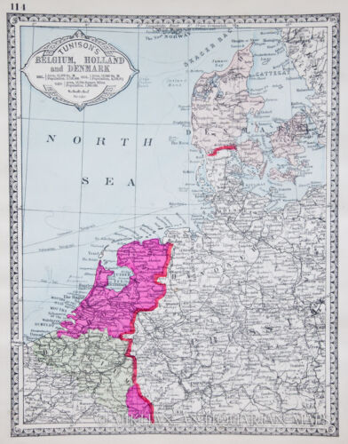 1886 BELGIUM  HAND COLORED original ANTIQUE MAP authentic