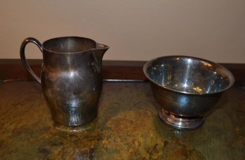 FB Rogers Paul Revere Reproduction Sterling Silverplate Bowl & Creamer 1052