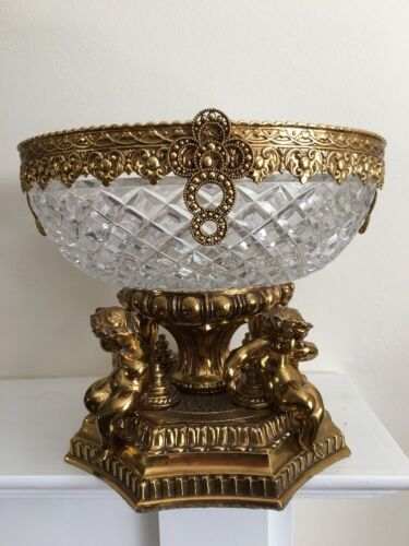 Antique Vintage Brass?Metal Full Lead Crystal Cherub Compote Bowl Dish W.Germany