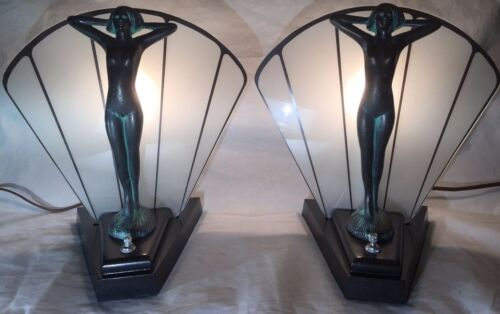 Pair Vintage ART DECO Figural NUDE LADY Statue Frosted Glass Fan Lamps