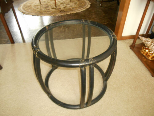 Authentic McGuire San Francisco Rattan Bamboo Glass Top End Table Metal Tag