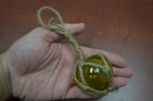 "REPRODUCTION YELLOW GLASS FLOAT BALL BUOY WITH FISHING NET 2"" #F-369"