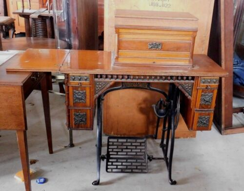 ANTIQUE WHEELER & WILSON PEDAL SEWING MACHINE WITH OAK CABINET & ACCESSORIES