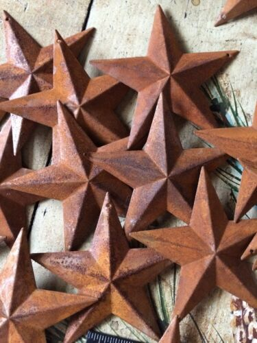 """Lot of 25 Rusty Barn Stars 3.5 in 3 1/2"""" Primitive Country 3D Rust Craft Supply"""