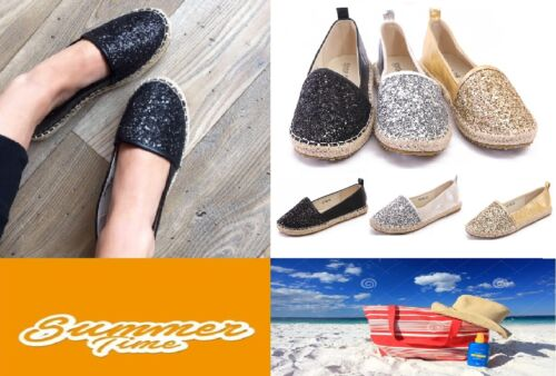 Womens Flat Glitter Espadrille Shoes Holiday Pumps Casual Comfort Shoes Size 3-8