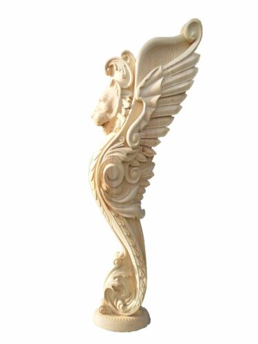 Wooden stairs Baluster Newel, unique carved  gryphon statue, decorative element.