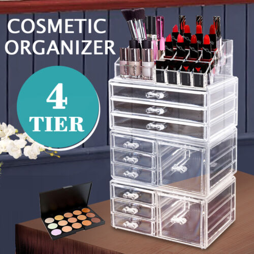 10 Drawers Clear Acrylic Boxes Cosmetic Makeup Organizer Jewellery Storage Box