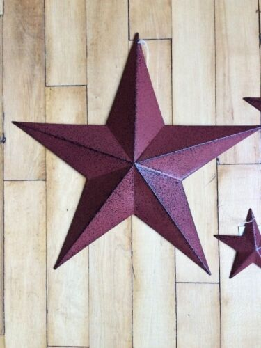 "ONE (1) BURGUNDY BLACK BARN STAR 18"" PRIMITIVE RUSTIC COUNTRY DISTRESSED"