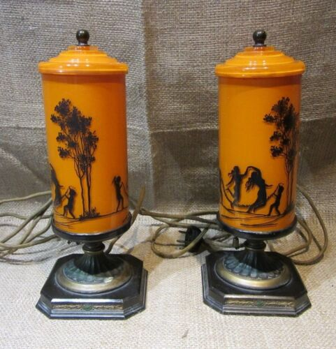 Pair of Deco Nymphs Silhouette  Dresser Lamps Unusual Pair!